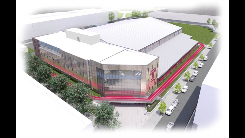 Aerial rendering of Student Health and Wellness Center from southeast corner