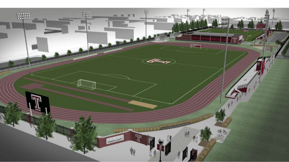 Aerial view schematic of Temple Sports Complex facility