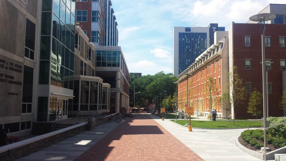 Completed 1800 Block of Liacouras Walk, in front of the Fox School