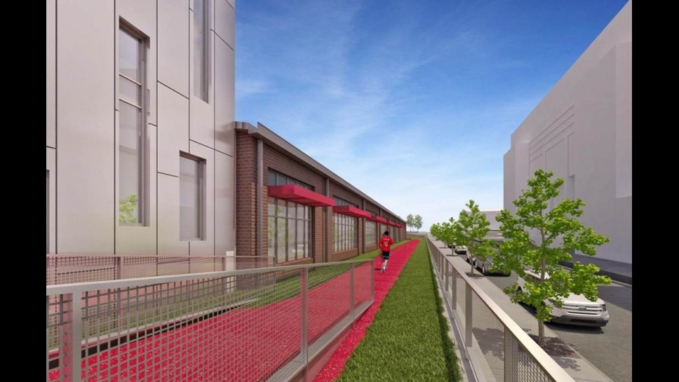 Rendering of the elevated outdoor track at the Student Health and Wellness Center