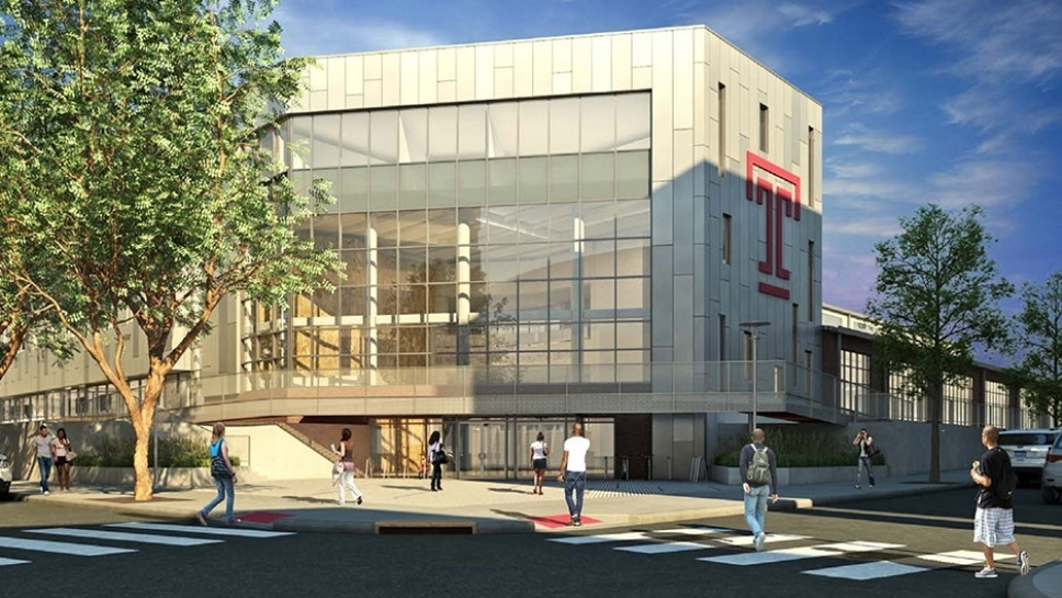 A rendering of the new STAR Complex on Temple's Main Campus depicts the dramatic two-and-a-half-story glass atrium that will welcome facility users
