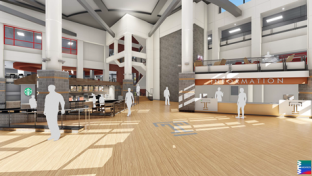 Rendering of atrium in the Howard Gittis Student Center
