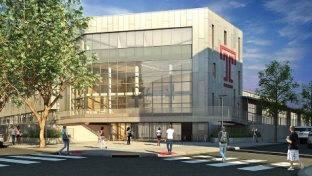 A rendering of the new Student Health and Wellness Center on Temple's Main Campus depicts the dramatic two-and-a-half-story glass atrium that will welcome facility users